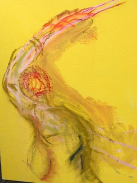 Yellow Move. Patel and ink on acrylic Sold